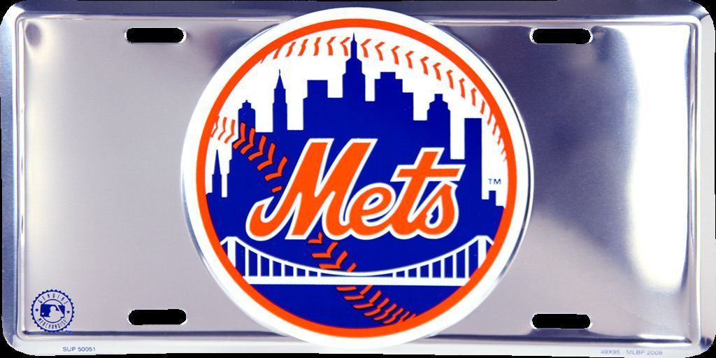 NEW YORK METS CHROME LICENSE PLATE