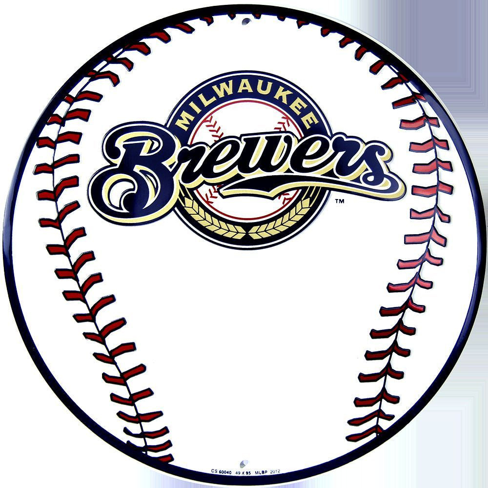 MILWAUKEE BREWERS ROUND BASEBALL SIGN