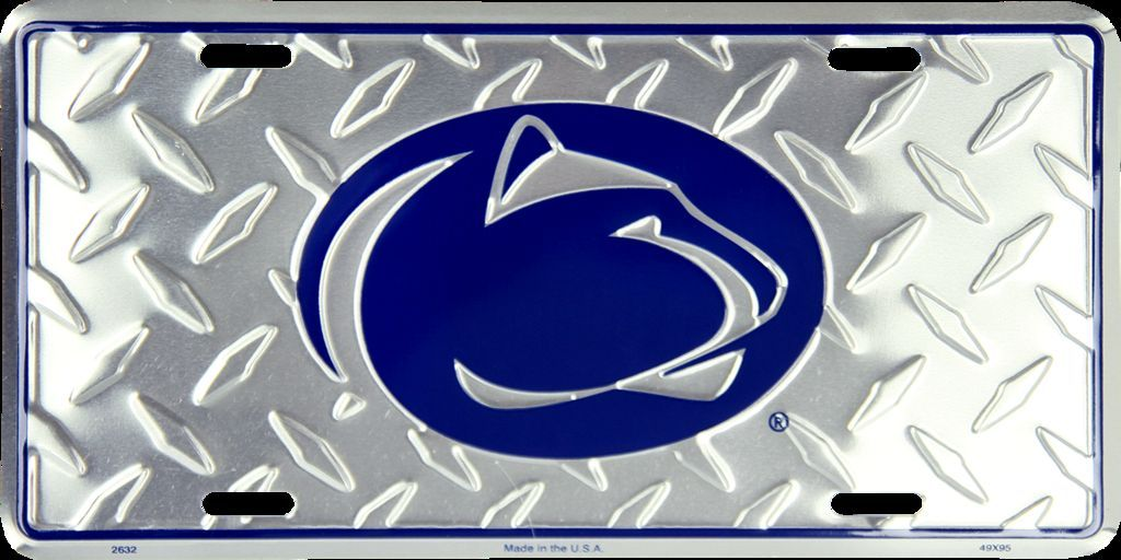PENN STATE DIAMOND LICENSE PLATE METAL NITTANY LIONS