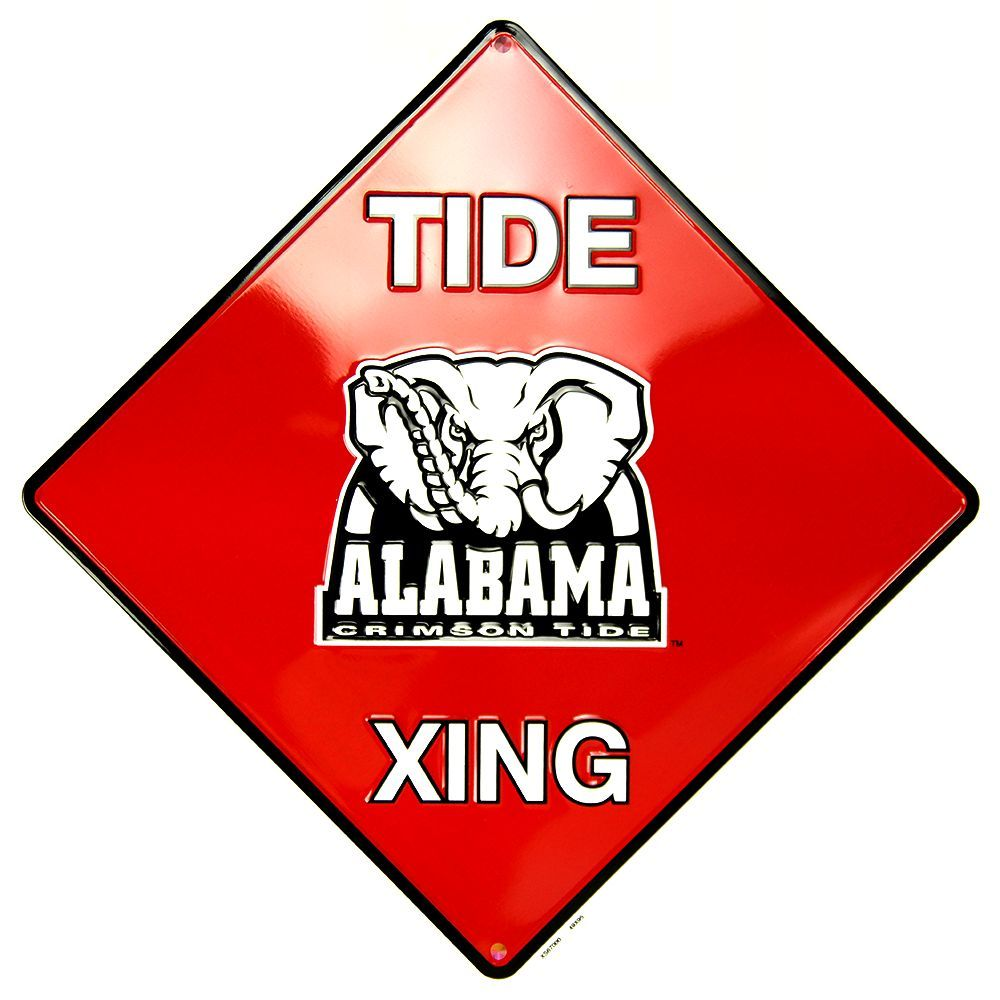 "Alabama Crossing Sign Metal 12"" X 12"""
