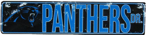 "CAROLINA PANTHERS TEAM TIN SIGN VINTAGE WOOD LOOK METAL 8""  X 12"" MAN CAVE FAN"
