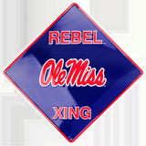 OLE MISS REBELS METAL REBEL XING CROSSING SIGN