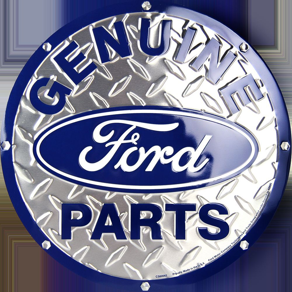"FORD GENUINE PARTS 12"" ROUND DIAMOND TIN EMBOSSED SIGN"