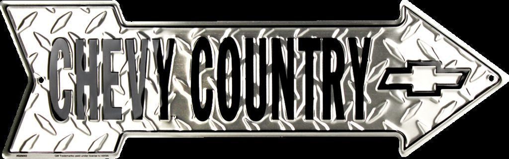 CHEVY COUNTRY EMBOSSED DIAMOND METAL ARROW SIGN