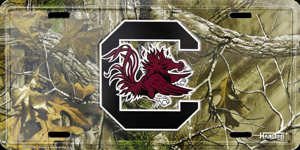 SOUTH CAROLINA CAMO LICENSE PLATE GAMECOCKS
