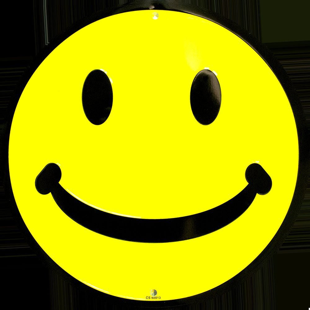 SMILEY FACE ROUND METAL SIGN