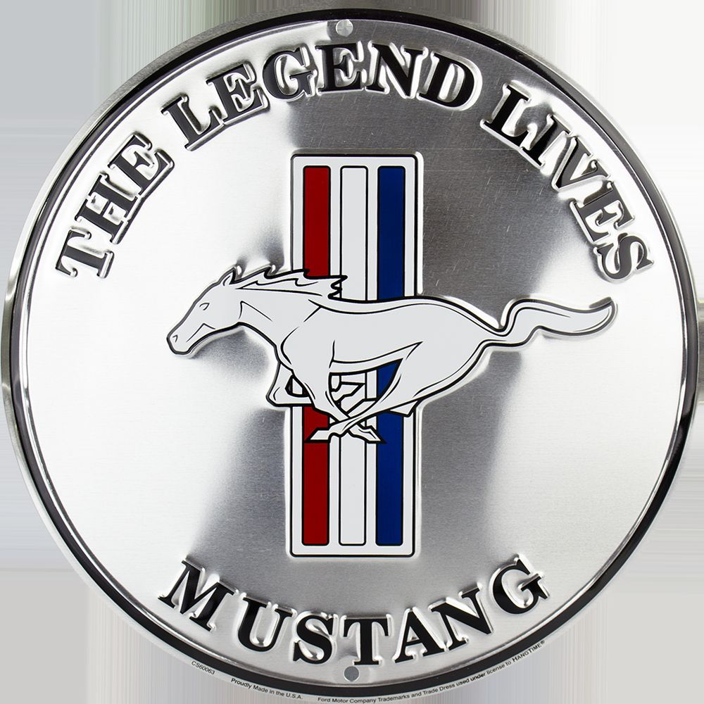"Mustang The Legend Lives 12"" Round Metal Retro Sign"