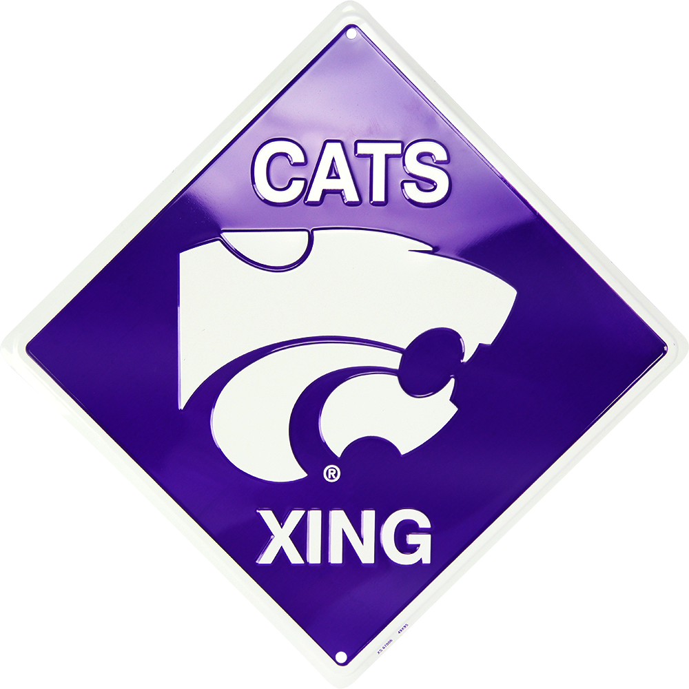 "KANSAS STATE WILDCATS 12 X 12"" METAL CATS XING CROSSING SIGN UNIVERSITY WILDCAT"