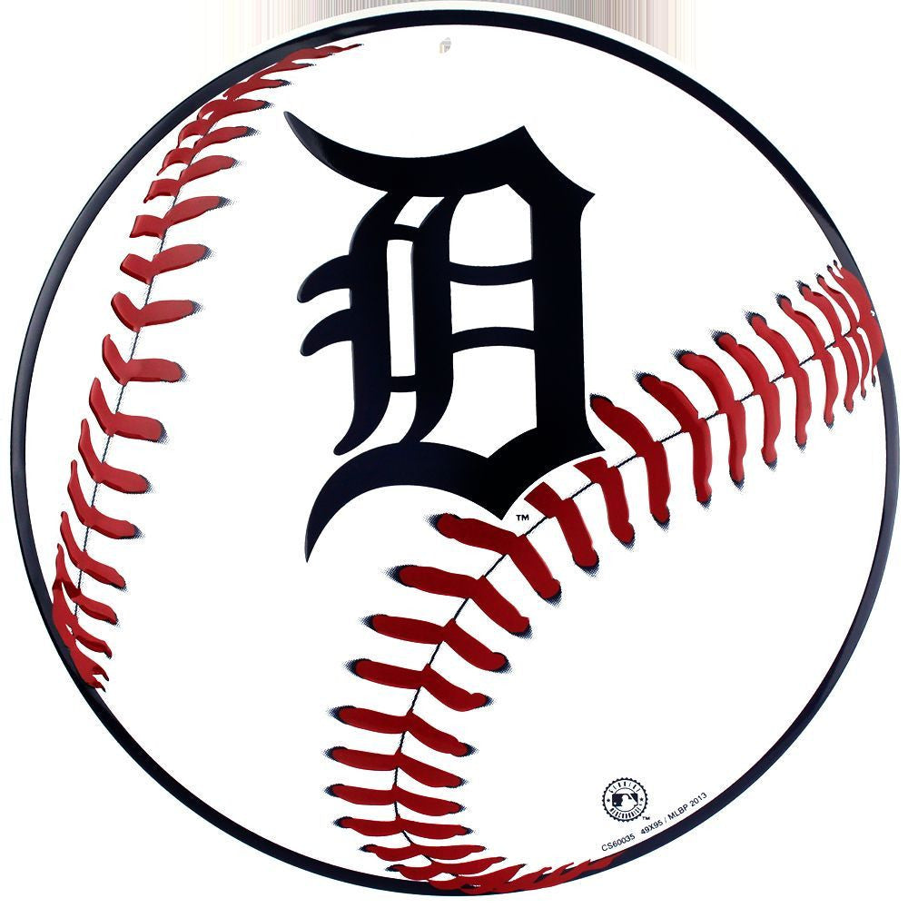 DETROIT TIGERS ROUND METAL BASEBALL SIGN