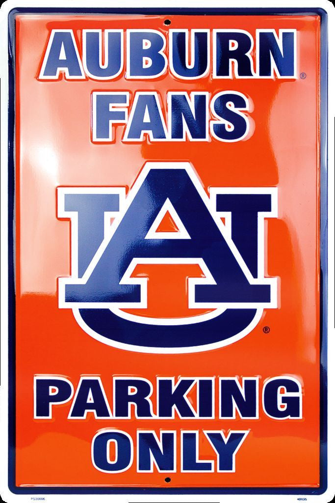 "AUBURN TIGERS FANS PARKING ONLY LARGE 12"" x 18"" METAL SIGN WAR EAGLE UNIVERSITY"