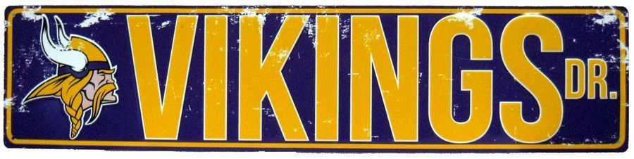"MINNESOTA VIKINGS STREET METAL 24 X 5.5"" SIGN DRIVE NFL ROAD DR AVE MAN CAVE"