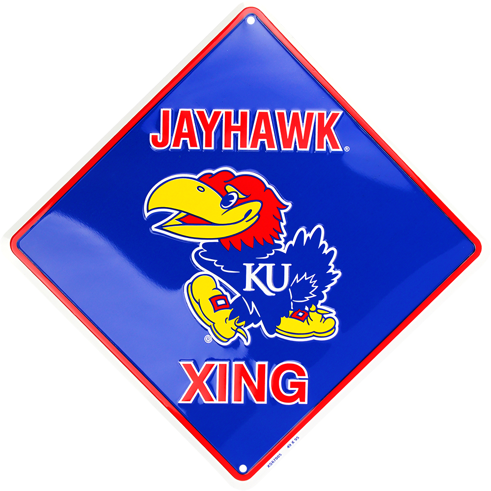 "KANSAS JAYHAWKS 12 X 12"" EMBOSSED METAL JAYHAWK XING CROSSING SIGN"