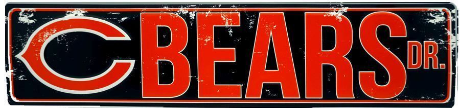 "Chicago Bears Street Metal 24 X 5.5"" Sign Drive Nfl Dr Road Rd Ave St Man Cave"