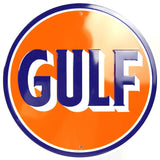 GULF OIL GASOLINE ROUND TIN SIGN