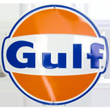 Gulf Oil Round Metal Tin Sign