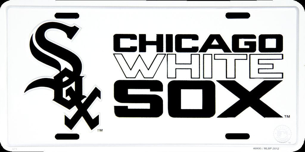 CHICAGO WHITE SOX LICENSE PLATE WHITE