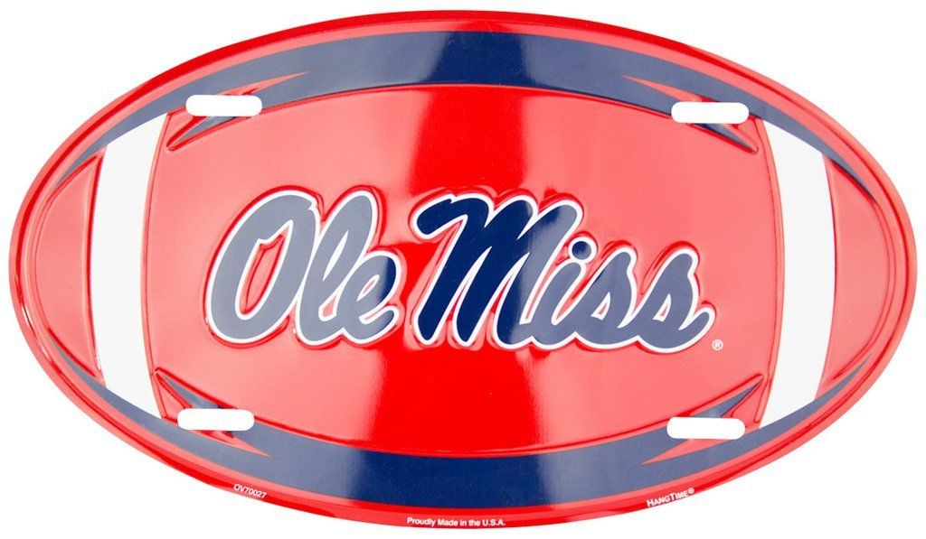 OLE MISS REBELS LICENSE PLATE OVAL