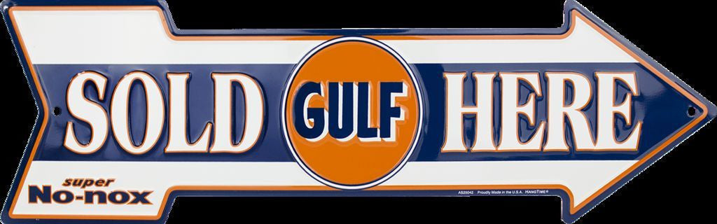 GULF OIL SOLD HERE ARROW TIN SIGN