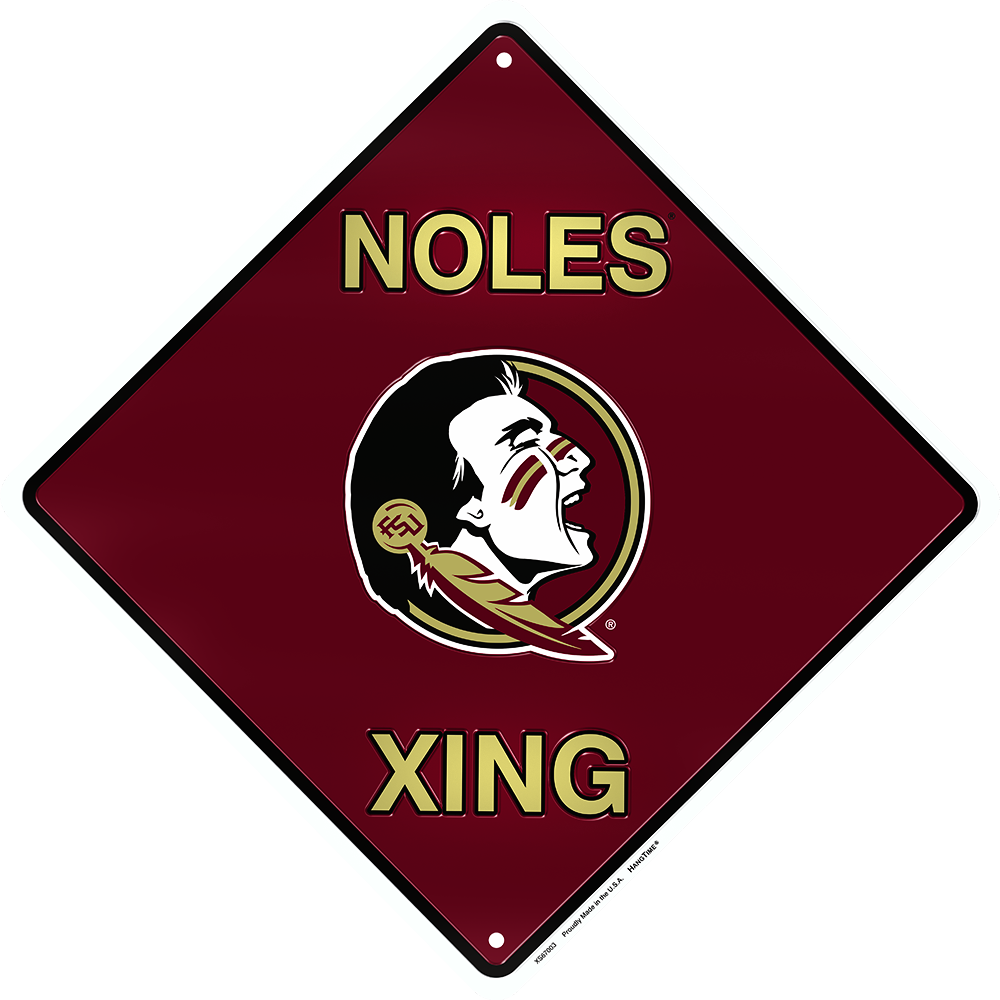 "FLORIDA STATE SEMINOLES 12 X 12"" METAL NOLES XING CROSSING SIGN SEMINOLE UNIV"