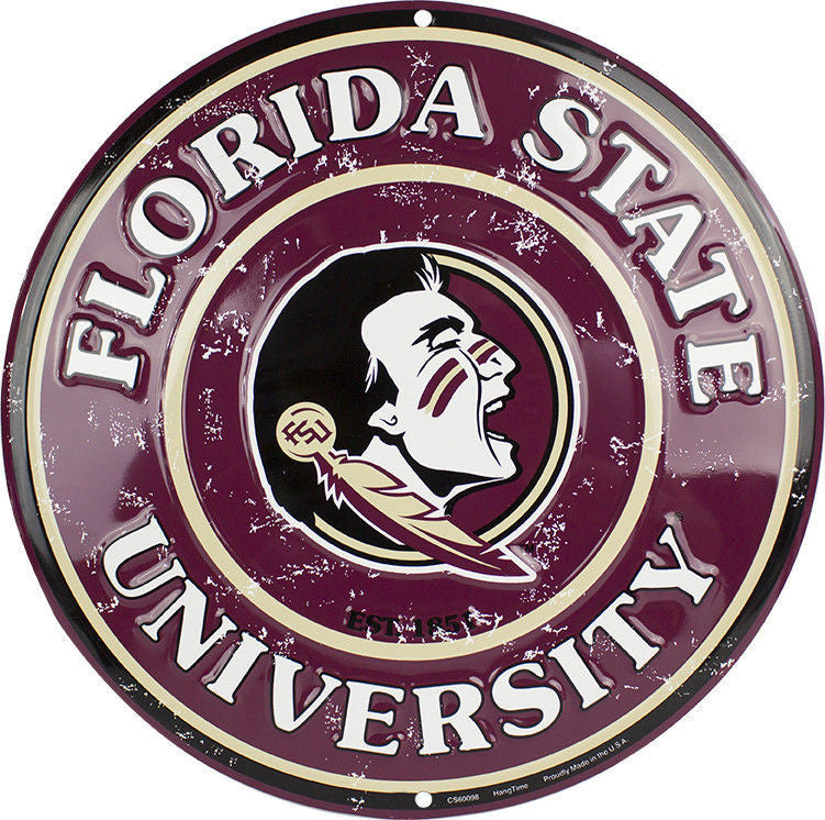 FLORIDA STATE UNIVERSITY ROUND METAL SEMINOLES SIGN