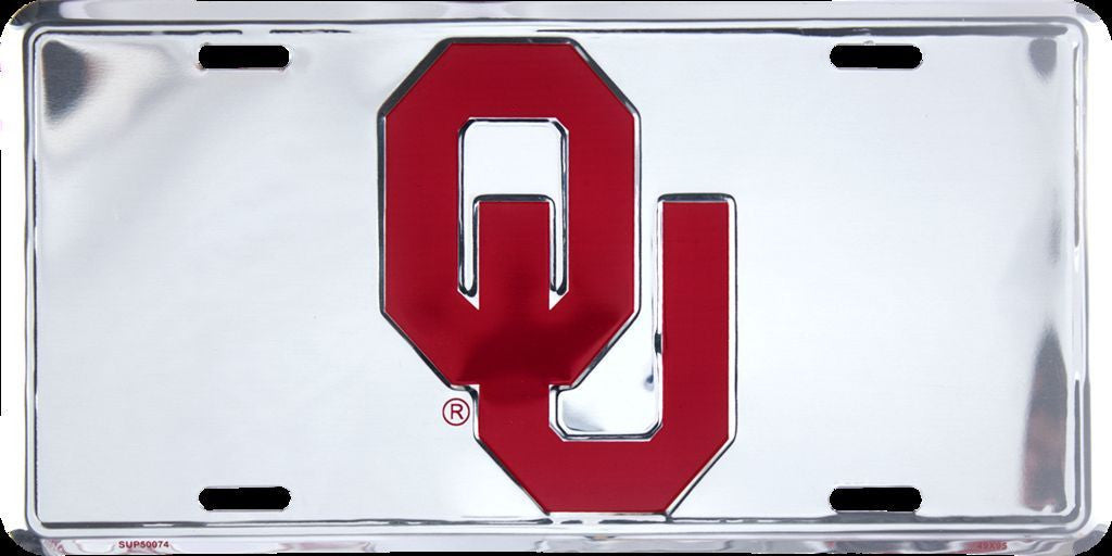 OKLAHOMA SOONERS CHROME LICENSE PLATE