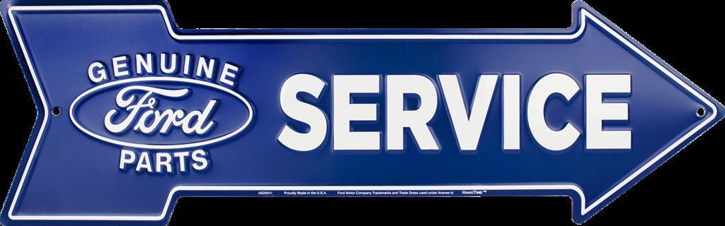 FORD SERVICE GENUINE PARTS EMBOSSED METAL ARROW SIGN