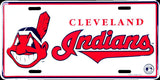 CLEVELAND INDIANS LICENSE PLATE EMBOSSED METAL SIGN