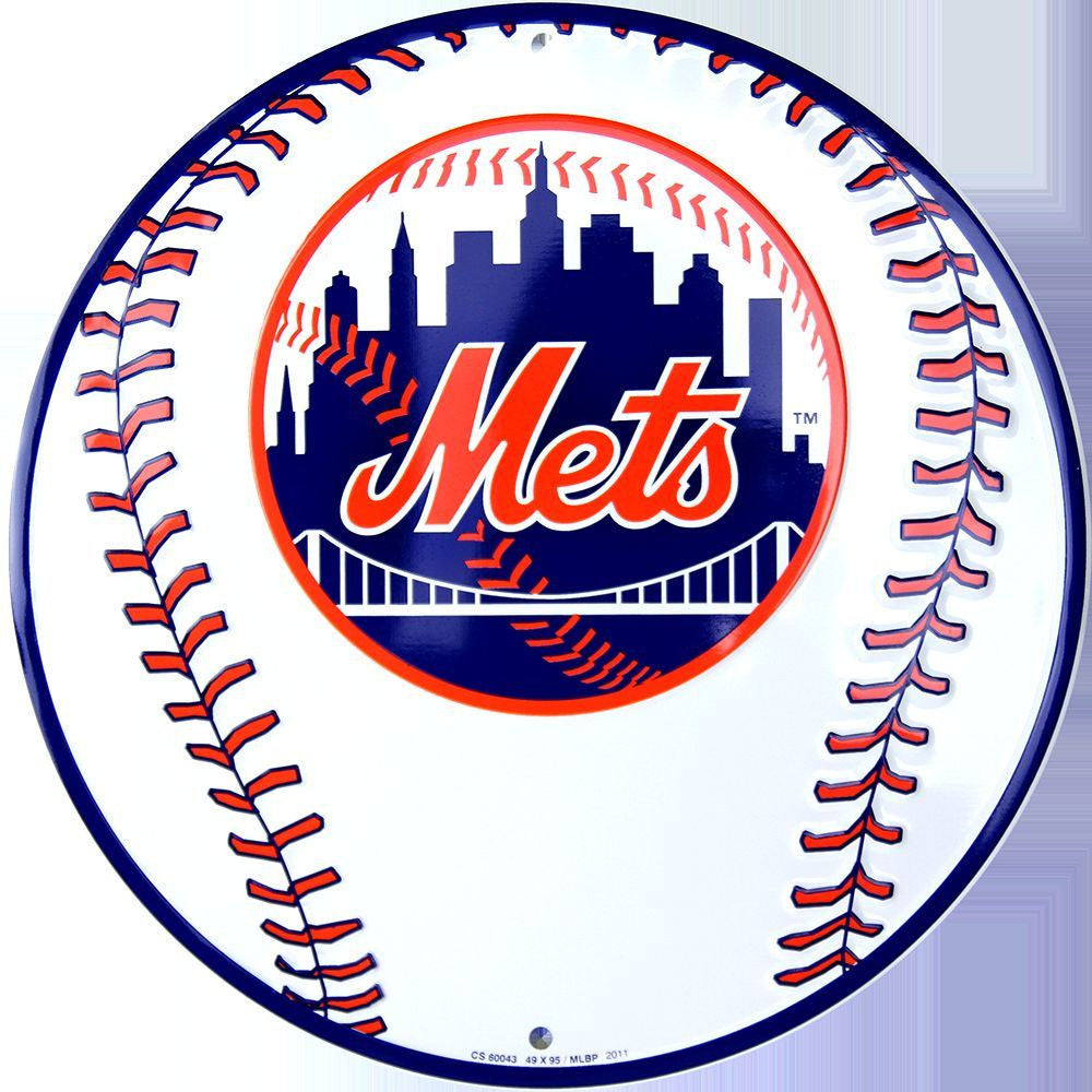 NEW YORK METS ROUND BASEBALL SIGN