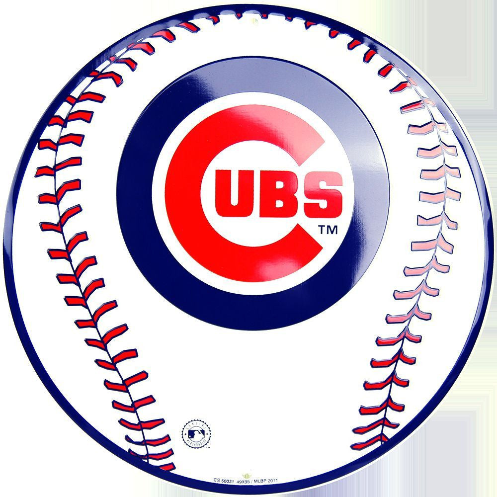 CHICAGO CUBS ROUND METAL BASEBALL SIGN