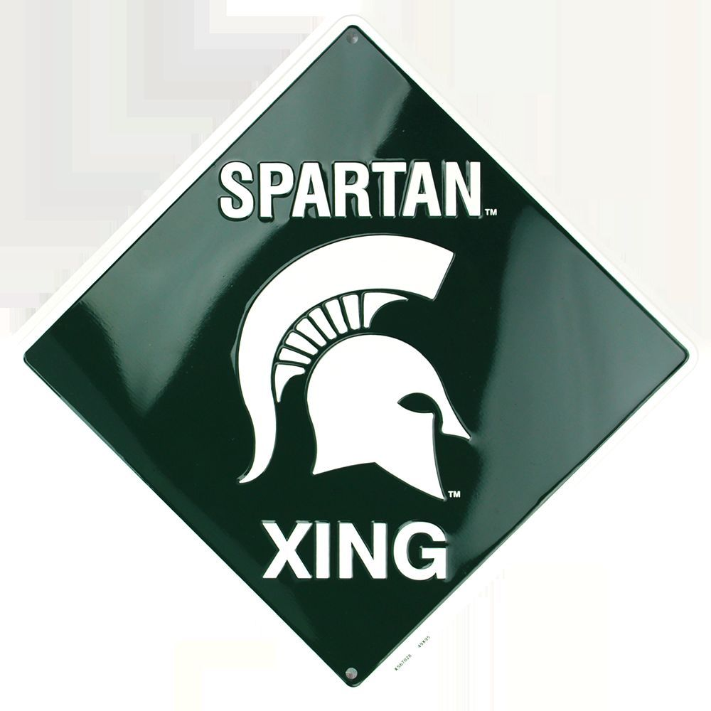 MICHIGAN STATE UNIVERSITY EMBOSSED METAL SPARTAN XING CROSSING SIGN