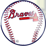 ATLANTA BRAVES ROUND METAL BASEBALL SIGN