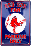 BOSTON RED SOX FAN PARKING ONLY EMBOSSED METAL SIGN LARGE