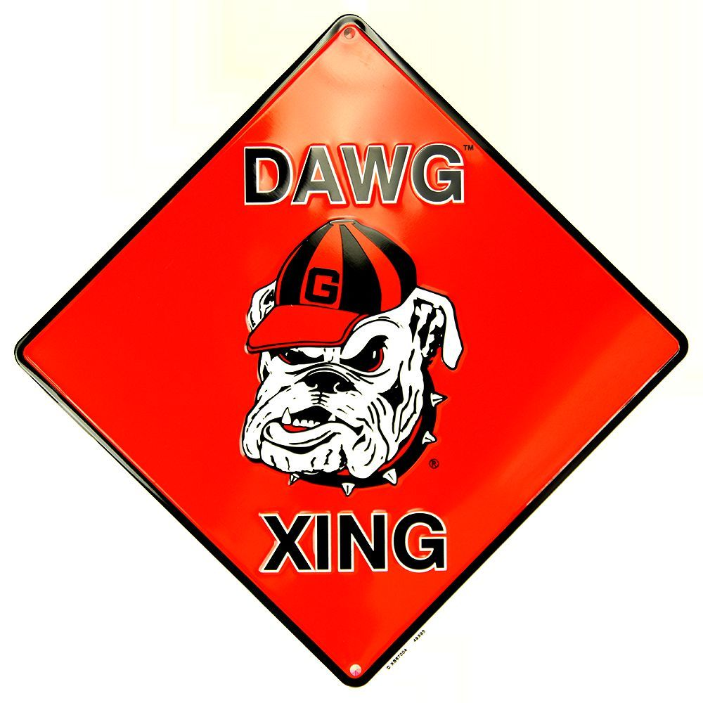 "GEORGIA 12 X 12"" METAL EMBOSSED BULLDOGS DAWG XING CROSSING SIGN"