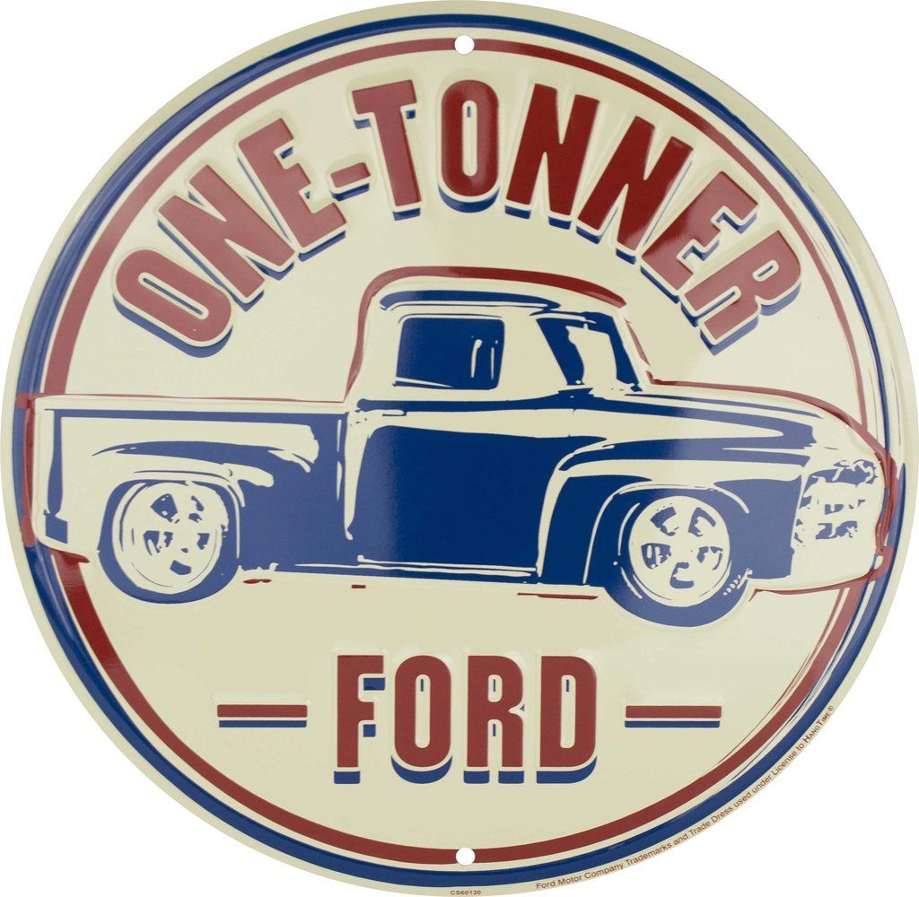 "Ford One Tonner 12"" Round Metal Tin Embossed Retro Sign"