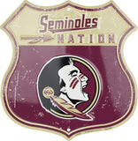 FLORIDA STATE UNIVERSITY SHIELD SEMINOLES NATION METAL SIGN