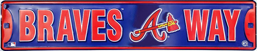ATLANTA BRAVES STREET SIGN EMBOSSED METAL BRAVES WAY