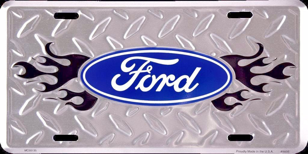 FORD LOGO DIAMOND LICENSE PLATE METAL BLACK FLAME EMBOSSED