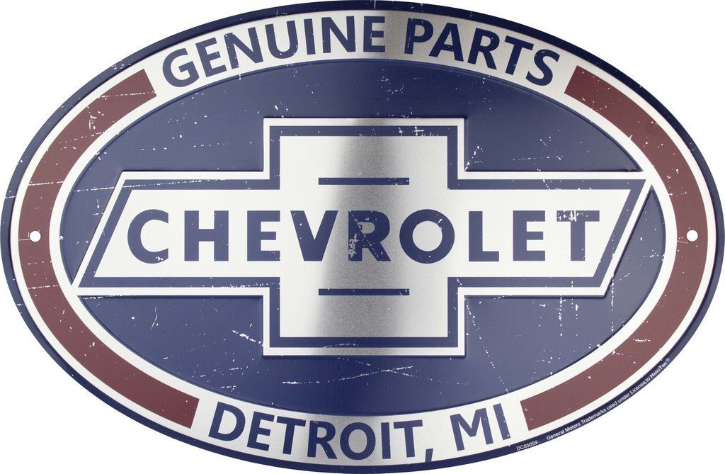 CHEVROLET GENUINE PARTS OVAL METAL SIGN