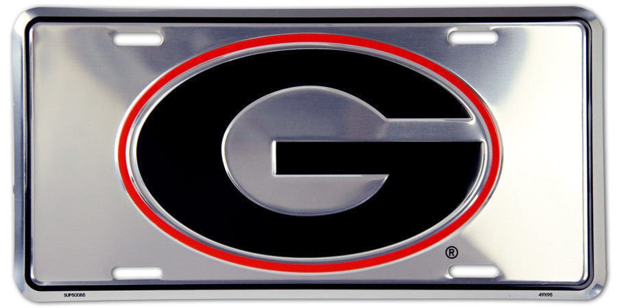 GEORGIA BULLDOGS CHROME LICENSE PLATE