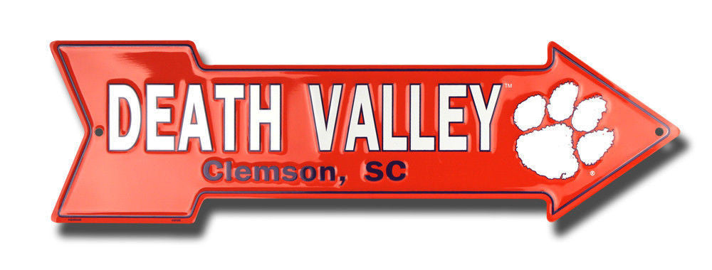 CLEMSON TIGERS DEATH VALLEY EMBOSSED METAL ARROW SIGN