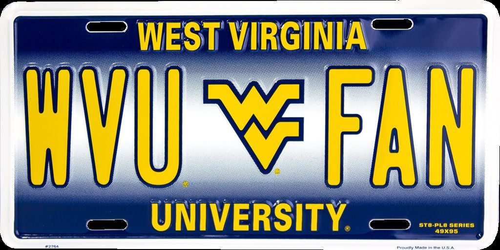 WEST VIRGINIA UNIVERSITY PLATE WVU FAN
