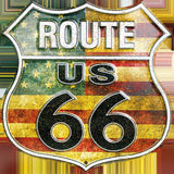 US ROUTE 66 AMERICAN FLAG EMBOSSED METAL SHIELD SIGN