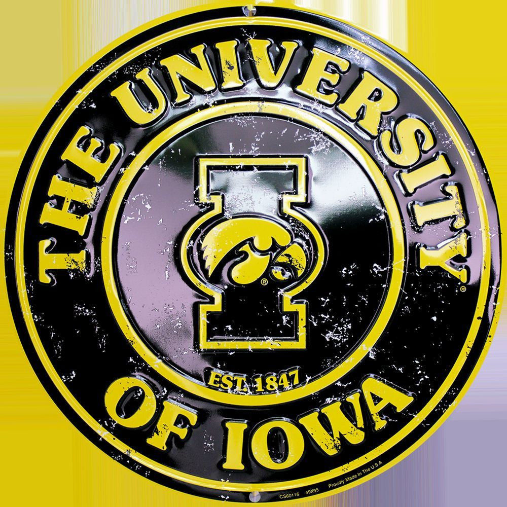 IOWA HAWKEYES ROUND SIGN