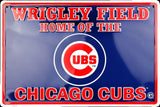 WRIGLEY FIELD HOME OF THE CHICAGO CUBS EMBOSSED METAL SIGN