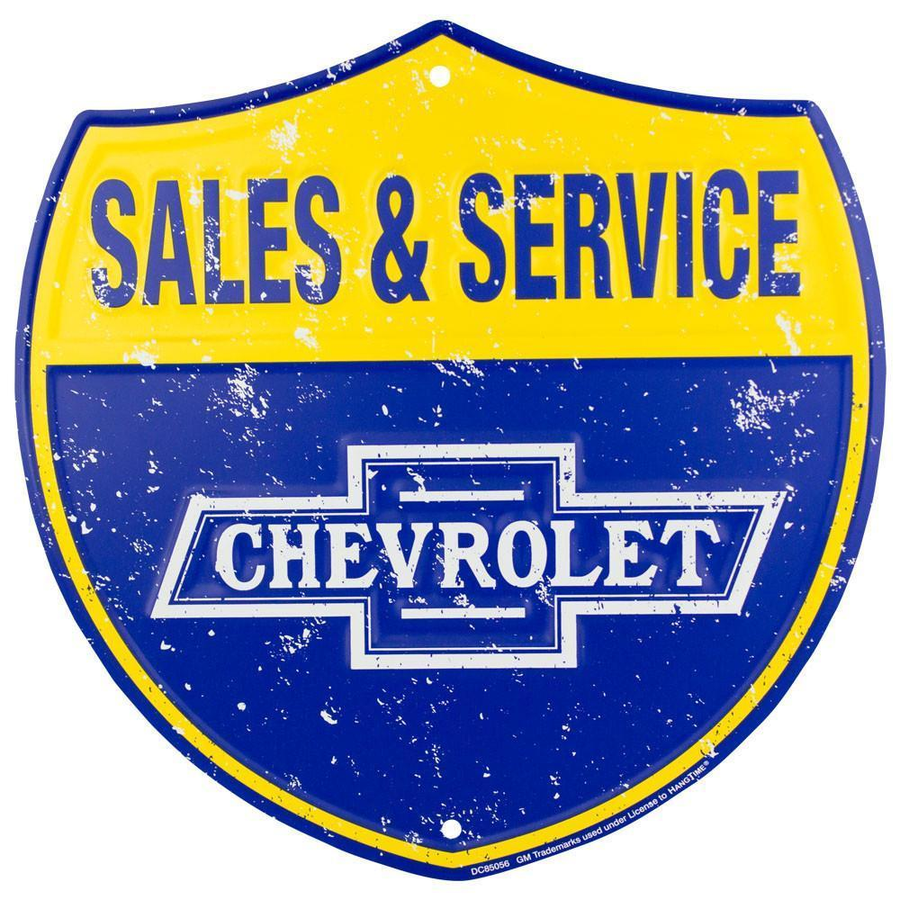 "CHEVROLET SALES & SERVICE 12"" ROUND METAL TIN EMBOSSED RETRO SIGN"