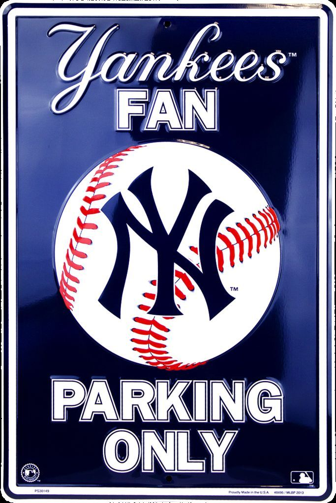 NEW YORK YANKEES FAN EMBOSSED METAL SIGN PARKING ONLY LARGE