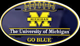 MICHIGAN WOLVERINES CAR TAG OVAL LICENSE PLATE GO BLUE