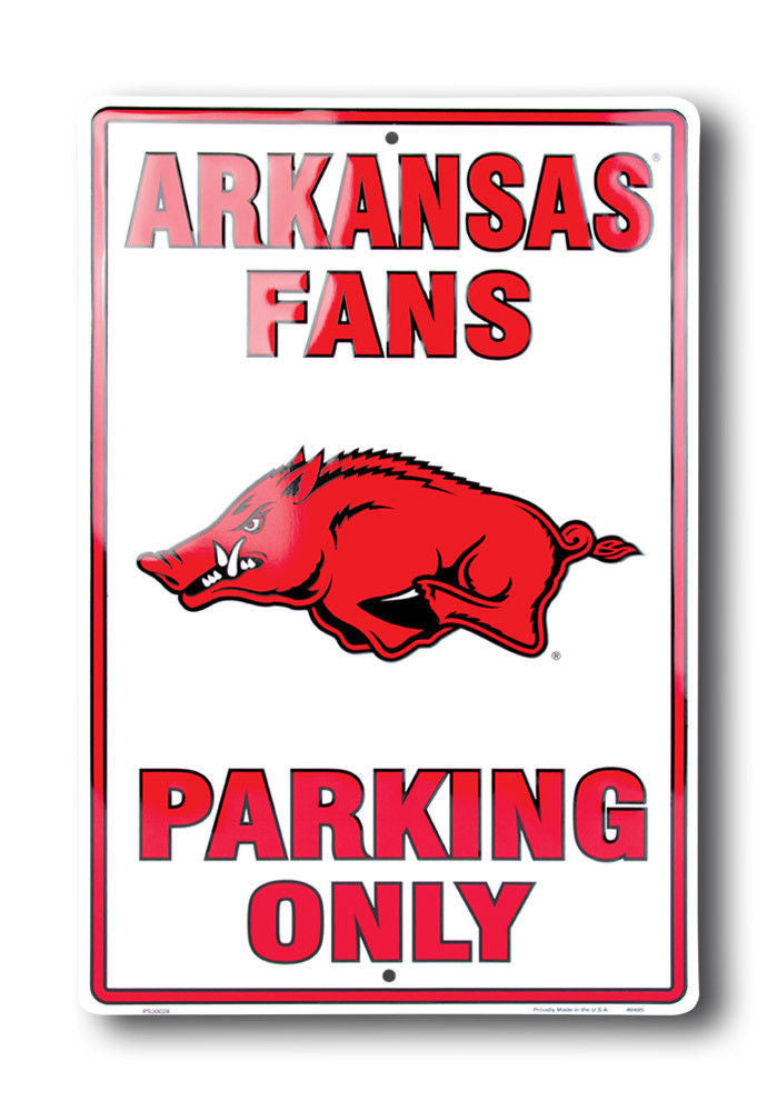 "ARKANSAS RAZORBACKS FANS PARKING ONLY 12"" x 18"" LARGE METAL SIGN"