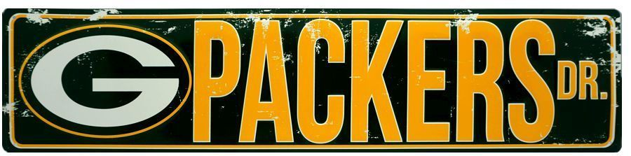 "GREEN BAY PACKERS STREET METAL 24 X 5.5"" SIGN DRIVE NFL DR ROAD AVE ST MAN CAVE"