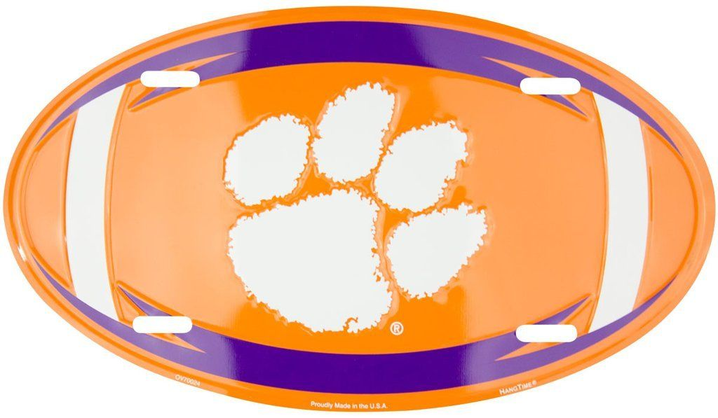 CLEMSON TIGERS CAR TRUCK TAG OVAL FOOTBALL LICENSE PLATE SIGN UNIVERSITY MANCAVE